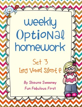 Optional Homework- Long Vowel Silent E