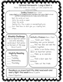 Optional Homework- Long Vowel Silent E