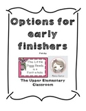 Options for Early Finishers sign