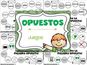 Opuestos Flashcards & Games (Juegos en Espanol) SPANISH -- NO PREP and Color!