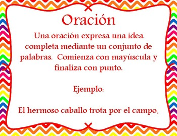 Oracion o frase - Sentence or phrase task cards - Spanish