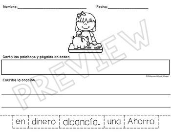 Oraciones Mezcladas ~ Scrambled Sentences: Spending & Saving Money SPANISH