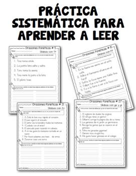 Oraciones fonéticas para enseñar a leer en español -  BUNDLE