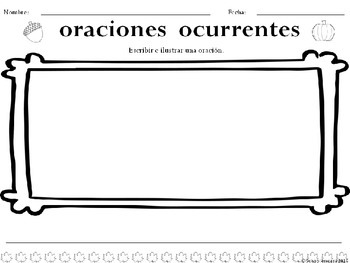 Oraciones ocurrentes: Otoño *FREE VERSION* Spanish Literacy Activity
