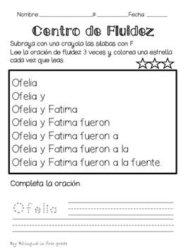 Oraciones para la fluidez Silabas con F - Spanish fluency sentences