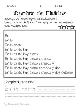 Oraciones para la fluidez Silabas con C - Spanish fluency sentences