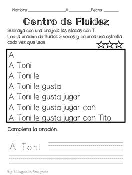 Oraciones para la fluidez silabas con T - Spanish fluency sentences