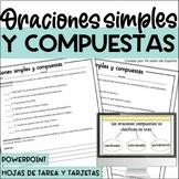 Oraciones simples y compuestas / SPANISH simple and compou