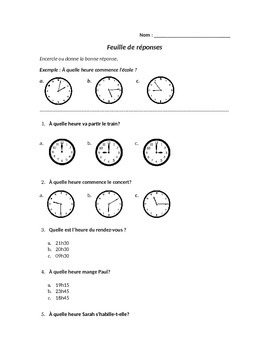 Oral Activity: Telling time