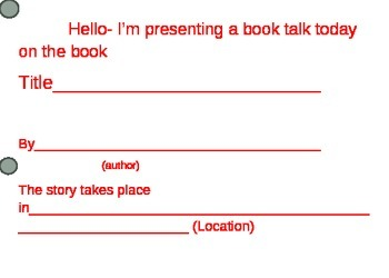 Oral Book Talk Prompt Cards