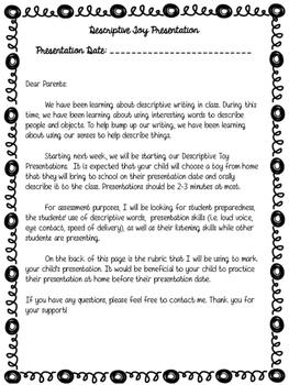 Oral Communication Descriptive Toy Presentation