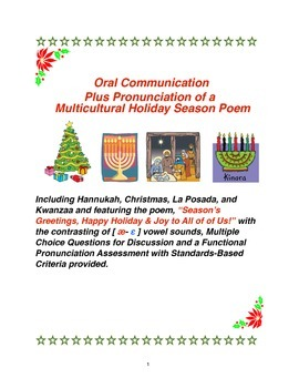 Oral Communication Plus Pronunciation of a Multicultural Holiday Season Poem