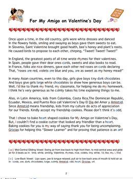 Oral Communication Plus Pronunciation of a Multicultural Valentine's Day Poem