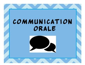Oral Communication Posters *2013 Ontario French Curriculum Based*