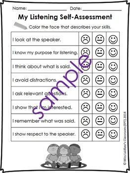 Oral Communication (Speaking/Listening) Self-Assessments {American Spelling}