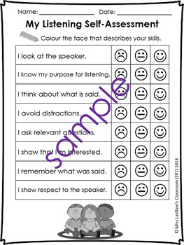 Oral Communication (Speaking/Listening) Self-Assessments {Canadian/UK Spelling}