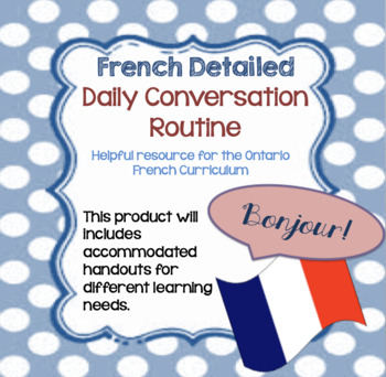 Oral Conversation French Daily Routine Sheet