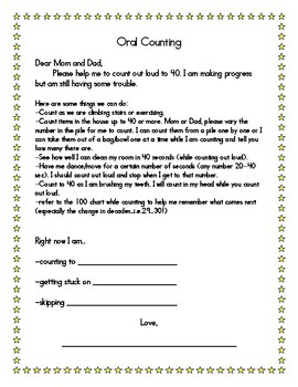 Oral Counting Help-Letter from child to parent