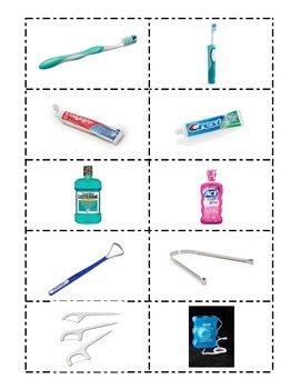 Oral Hygiene Flash Cards- Words and Pictures- And Game Questions