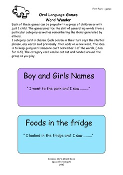 Oral Language Games