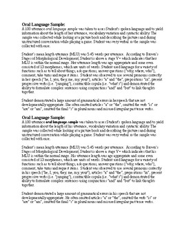 Oral Language Sample Template