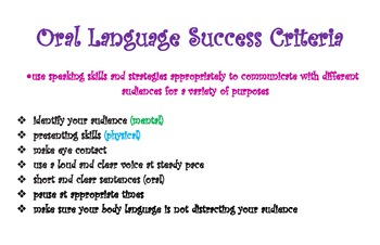 Oral Language Success Criteria