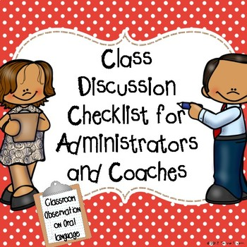Oral Language and Class Discussion Checklist for Administrators and Coaches