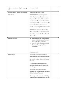 Oral Language and Opinions Lesson Plan