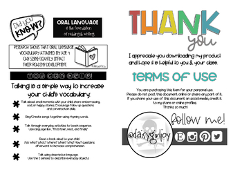 Oral Language foundations in Literacy Info Sheet for Parents