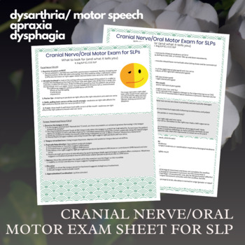 Oral Motor Exam / Cranial Nerve Exam for SLPs - Cheat Sheet