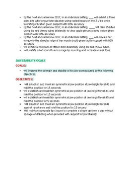 Oral Motor & Feeding Goals and Objectives