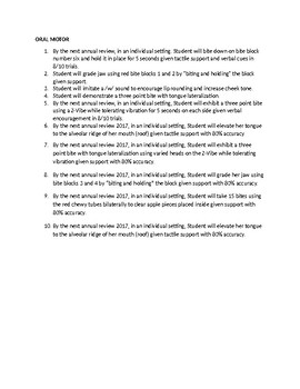 Speech Therapy-Oral Motor IEP objectives for non-verbal student