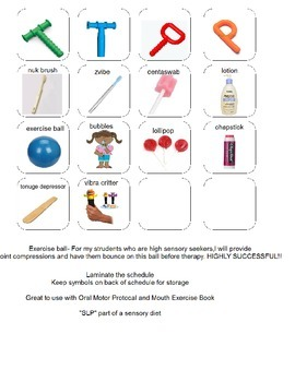 Oral Motor Schedule and Choices