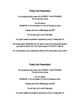 Oral Poetry Presentation
