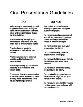 Oral Presentation Guidelines