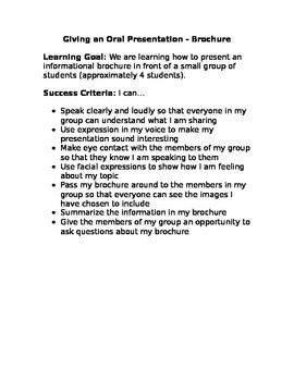 Oral Presentation Learning Goal and Success Criteria