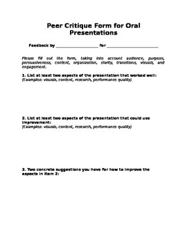 Oral Presentation Peer Critique Form