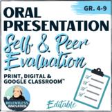 ⭐Oral Presentation Peer Assessment Evaluation Speech Feedback Checklist and Form