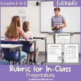Oral Presentation Rubric for Middle School