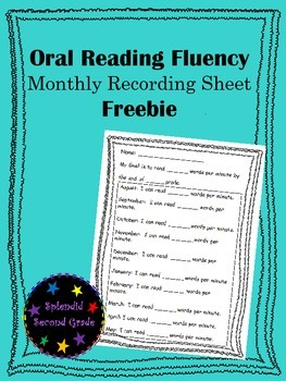 Oral Reading Fluency Monthly Recording Sheet Freebie