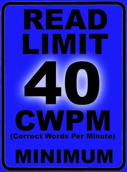 Oral Reading Fluency READ LIMIT 1st Grade Sign