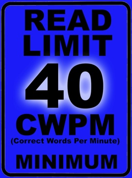 Oral Reading Fluency READ LIMIT 1st Grade Sign