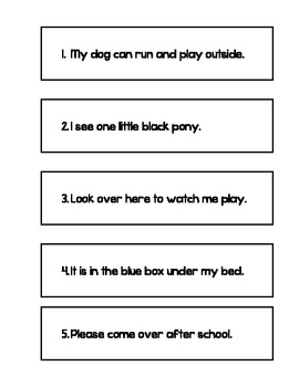 Oral Reading Fluency Sentence Strips