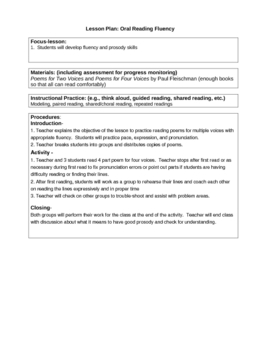 Oral Reading Fluency for Two and Four Voices
