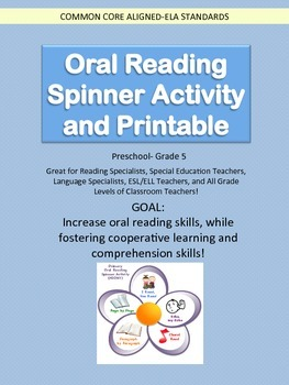 Oral Reading Spinner Activity and Printable