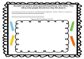 Oral Recount Worksheet