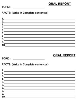 Oral Report presentation cards