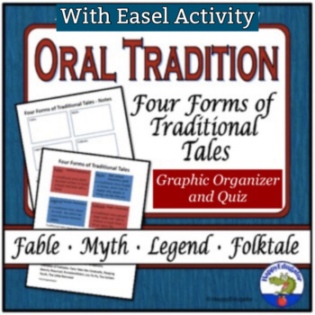 Fables, Myths, Legends, and Folktales Graphic Organizer and Quiz