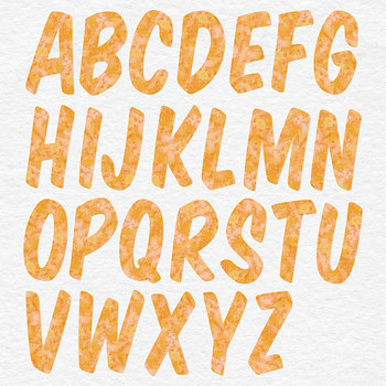Orange Alphabet, Digital Letters, Brush Digital Alphabet Clip Art