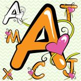 Orange Alphabet Letters Clip Art - Valentine's Day!